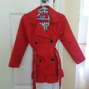 Pink Platinum red leopard hooded rain coat size 4